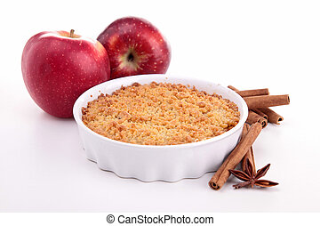 apple crumble on white