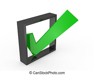 Check Mark - Green check mark sign on list option, isolated...