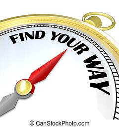 Find Your Way - Gold Compass Gives Directions to Traveler -...