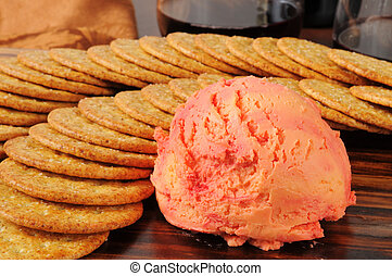 Cheddar cheese ball and crackers - Cheddar cheese and port...