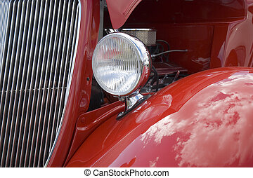 Hot Rod Car - Grill and headlight of a hot rod 40s vintage...