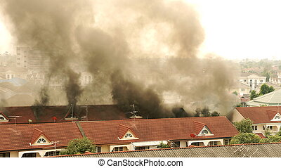 House fire. - Fire and smoke coming out....