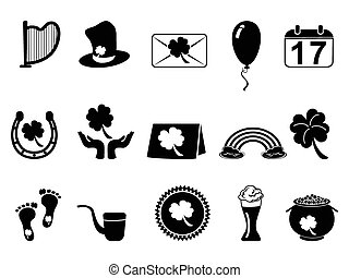 black Saint Patricks Day icons - isolated black Saint...