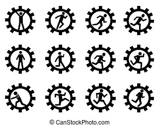 gear man symbol - isolated gear man symbol from white...