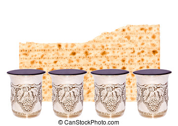 Matzah and four cups of wine for the Passover seder - Half...