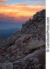 Sunset on top of Mount Evans, CO - highest paved road in the...