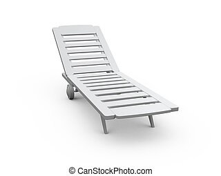 Plastic Sunbed - White plastic sunbed, front view, isolated...