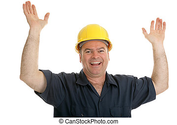 Construction Worker Overjoyed - Construction worker throwing...