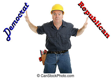 Undecided Voter - Construction worker undecided whether to...