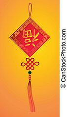 nuovo, Simbolo, cinese, Felicità, anno
