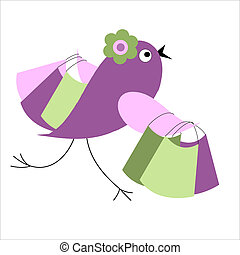 Bird with shopping with sales