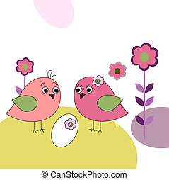 Family of birds and eggs