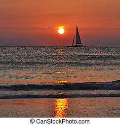 Sail at sea, at dusk - A beautiful sail at dusk Clearwater,...