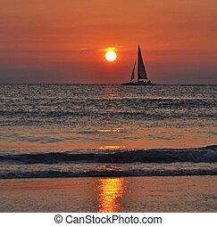 Sail at sea, at dusk - A beautiful sail at dusk. Clearwater,...