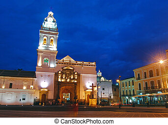 Old church in downtown Quito - Santo Domingo church in...