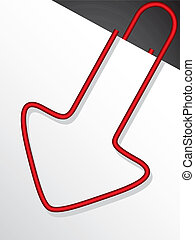 Arrow shaped red paper clip