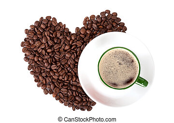Cup of coffee with coffee beans on white