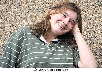 Female tomboy - Female tomboy posing outside
