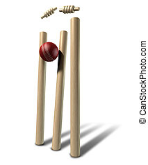 Cricket Ball Hitting Wickets Perspective Isolated - A red...