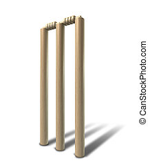 Cricket Wickets Front Isolated - A set of regular wooden...