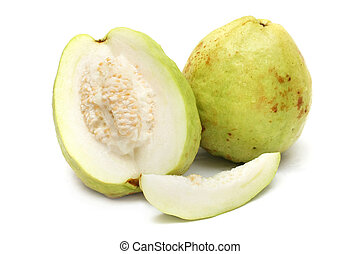 Guavas and slices isolated on white background