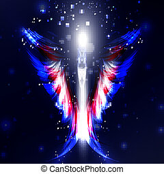 Angel vector futuristic background, wing illustration eps10