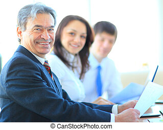 Happy business man with colleagues - Happy business man with...