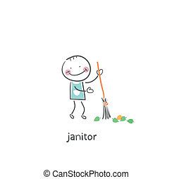 Janitor. Illustration.
