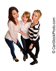 Three sexy young women - High angle view of three sexy young...