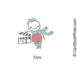 Blank Film slate or clapboard. Illustration.