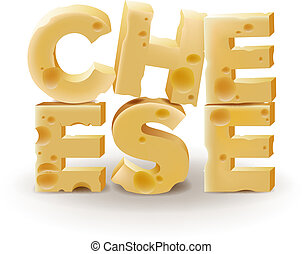 Word Cheese written with cheese on white background - Word...