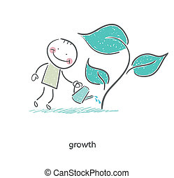 Man watering a plant. Illustration.