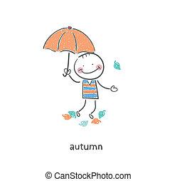A man under an umbrella.