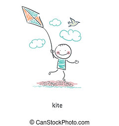 A man with a kite Illustration
