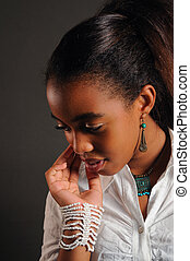 Pensive african girl - Portrait of young fashion african...