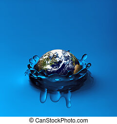 Earth falling in water - Concept image of globe sinking in...