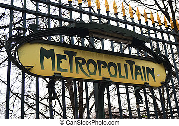 Paris Metropolitain Sign - Typical art noveau metro sign in...