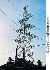 Power line tower - High voltage power tower line against...