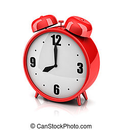 Red alarm clock on a white backdrop