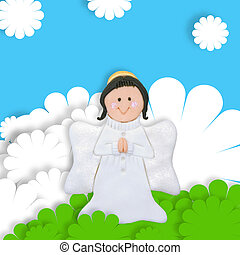 first communion card angel