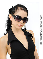 fashion sunglasses protrait - Portrait of young hispanic...