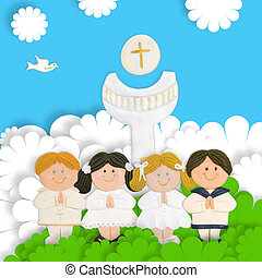 children first communion, calyx and wafer - first communion...