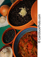 Cuban food - Detail of typical assorted cuban dishes over...
