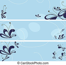 set of banners with abstract flowers