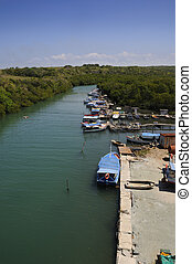 "River in Havana - Rustic fishing boats on \""Jaruco\\\""..."