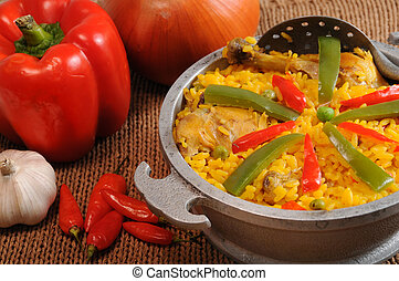 Typical cuban food - Setting with typical cuban dish and...