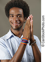 Trendy african man - Portrait of young positive african male...