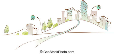 Curved path towards city - This illustration is a common...