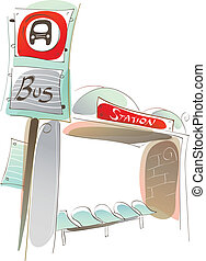 Empty bus station - This illustration is a common cityscape....