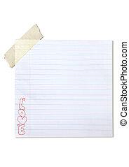 Handwriting love word on note paper with tape